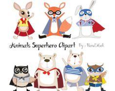 Animals superhero  Clipart, Superhero Clipart, animals clipart PNG file-300 dpi