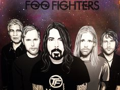 Made by Anita Hogeling #Foofighters #davegrohl #NateMendel #PatSmear #Chrisshiflett #taylorhawkins #foocrush #paintingoftheday #anitahogelingart #galaxybackground