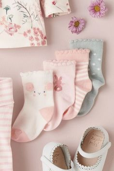 Pink/Mint Socks Four Pack (Younger)