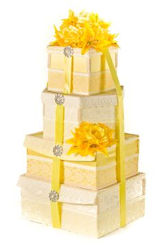 Yellow and lace wedding card box