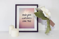 Make Your Wishes Come True,Sunset Background Typography Print,Motivational Life Quote,Colorful Wall Decor,Instant Download,Inspirational Art by InspirationsByJason on Etsy