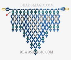 Free pattern for beaded necklace Alicante U need bicones 6 mm seed beads 11/0