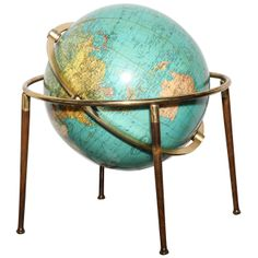 Vintage Table Lamps - For Sale at Globe Art, Globe Decor, Map Globe, Vintage Globe, Vintage Table, Mid Century Modern Living Room, Mid Century Modern Design, Quotes Together, Hawaii Vintage