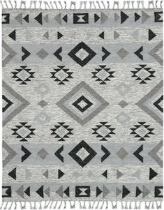 Presented in soft shades of silver and gray, the Amer Rugs Artifacts Flat Weave Indoor Area Rug is easy to blend with a variety of home color palettes. This area rug features a geometric pattern, and is finished with soft tassel details. Modern Area Rugs, Grey Rugs, Wool Area Rugs, Wool Rugs, Woven Rug, Pottery Barn, Hand Weaving, Weave, Flat