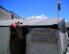 Tea house at the North Everest Base Camp. Mount Everest is visible in the background.