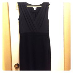 Ann Taylor Loft black on black dress size 14 Ann Taylor Loft black dress with deep v-neck and built in modesty panel. Size 14. The top is a slightly lighter black than the bottom. The skirt is forgiving as it has some stretch to it. Ann Taylor Loft Dresses