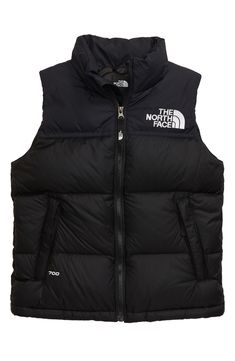 The North Face Kids' 1996 Retro Nuptse Down Vest In Tnf Black/ Windmill Blue North Face 700, North Face Kids, North Faces, White Vest Outfit, Vest Outfits, Mode Au Ski, Luxury Baby Clothes, North Face Outfits, Backpack Outfit