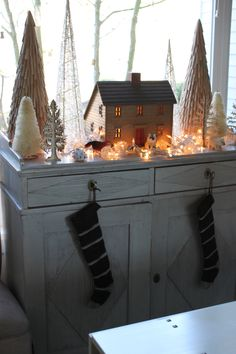 Holiday house in the woods, Christmas Decor.