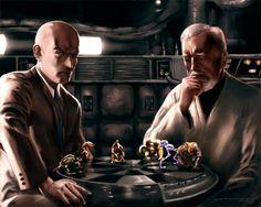 Prof X vs Obi Wan, Dejarik Throwdown! Marvel Vs, Disney Marvel, Disney Star Wars, Starwars, Pop Art Fashion, Sci Fi Comics, Charles Xavier, The Force Is Strong, Man Vs