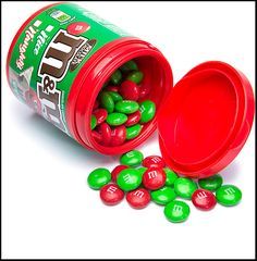 New bottles of Christmas M&Ms, Red and Green for the holiday:  http://www.candywarehouse.com/products/christmas-mms-candy-filled-bottles-6-piece-display/