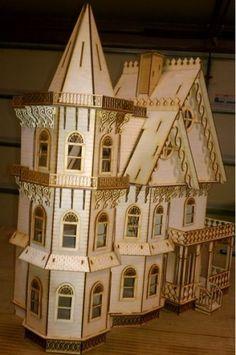 Leon Gothic Victorian Mansion Dollhouse Half inch / 1:24 scale Kit | eBay