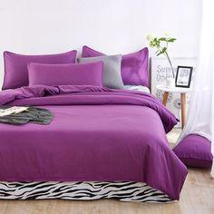 solid colors and zebra pattern King/Queen/Full/Twin 6size 3/4pcs bedding sets/bed set/bedclothes/duvet cover bed linen bed sheet #ZebraPrintBedding