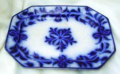 Cobalt flow blue guady ironstone platter scroll pattern circa 1850 slip glaze