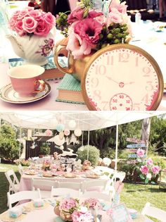 Baby named Alice or something like that! Vintage Alice in Wonderland tea party. This would be cute for the twins meet and greet shower. Fiesta Baby Shower, Tea Party Bridal Shower, Baby Shower Parties, Bridal Showers, Tea Party Wedding, Shower Party, Wedding Table, Alice Tea Party, Tea Party Theme