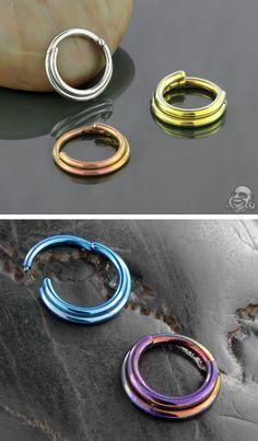 Titanium double septum clicker ring 14g 1/4 in plain titanium