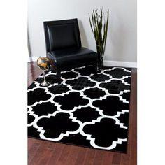 Persian Rugs 4518 Black Moroccan Trellis contemporary area rug