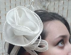 "Wedding Bridal Headdress Large 7"" Ivory Silk Organza hand made embroidered edged flower on a comb with loops and sequinned twirls -'Peony' Organza Flowers, Silk Organza, Bridal Headdress, Bridal Wedding Shoes, Satin Shoes, Ivory Silk, Lace Embroidery, Hair Ornaments, Beaded Lace"