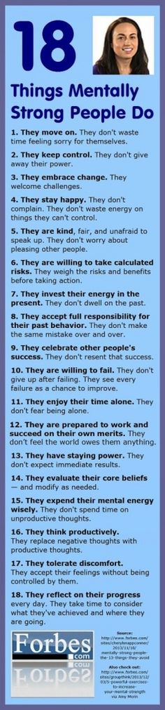 List of 18 Things Mentally Strong People Do- (Forbes.com / The Enchanted Home Blog)