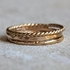Gold Stapel Ringe Gold Stapeln Ringe Gold Rings Gold Stacking Rings Stack from PraxisJewelry on Etsy Three Rings, Ring Set, Ring Verlobung, White Gold Wedding Bands, Wedding Rings, Ringe Gold, Black Hills Gold Jewelry, 14 Carat, Everyday Rings