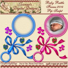 Baby Rattle Frame 2014 PspScript $6.00 - 60% off all this month! :) The script ends in layers and has been tested in Psp 9 through X7. No plug-ins required. The finished image measures 1446x1997px at 300 dpi. CU4PU/S4H/S4O  Also available as a Photoshop layered template http://www.joannes-digital-designs.com/baby-rattle-frame-2014-pspscript-p-2653.html