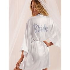 Victoria's Secret Bridal Robe ($60) ❤ liked on Polyvore featuring intimates, robes, white, wrap robe, white dressing gown, patterned robes, white bath robe and bridal robe