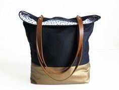 big tote bag fabric daybag dark blue gold sac shoulder bag large handmade plain with zipper leather strap handmade