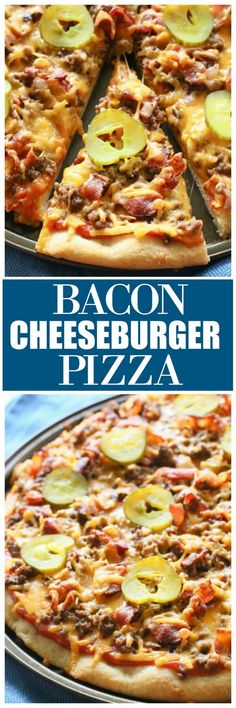 Bacon Cheeseburger Pizza - your favorite cheeseburger toppings piled on top of a pizza crust. Recipes pizza Bacon Cheeseburger Pizza - The Girl Who Ate Everything Fun Easy Recipes, Rib Recipes, Oven Recipes, Pudding Recipes, Sausage Recipes, Pizza Recipes, Casserole Recipes, Crockpot Recipes, Easy Meals