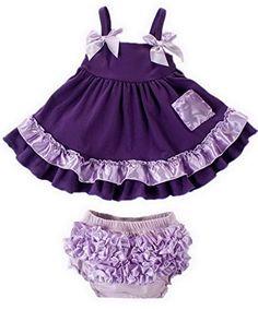 Bigood Baby Girl Princess Dress Jumpsuit Twopiece Sun dress 100 Purple >>> Click image for more details.