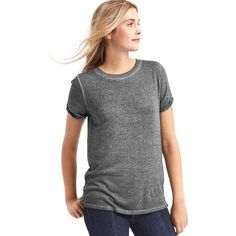 Gap Women Softspun Knit Roll Sleeve Tee ($14) ❤ liked on Polyvore featuring tops, t-shirts, moonless night, regular, side slit t shirt, short sleeve crew neck t shirt, knit tee, knit top and gap tees