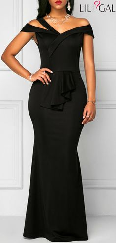 Zipper Back High Waist Black Maxi Dress #liligal #dresses #womenswear #womensfashion