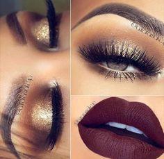 Brown crease. Gold lip w/ dark maroon lip #makeuptips Gorgeous Makeup, Pretty Makeup, Love Makeup, Makeup Inspo, Makeup Inspiration, Makeup Ideas, Makeup Tutorials, Makeup Geek, Makeup Trends