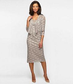 Available at Dillards.com #Dillards Alex Evenings Scalloped Lace Jacket Dress - stone Item #04122890