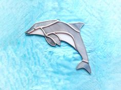 Ocean gift dolphin art sea life wife birthday stained Dolphin Art, Glass Cutter, Stained Glass Suncatchers, Wife Birthday, White Stain, Small Shops, Sun Catcher, Dolphins, Lighter
