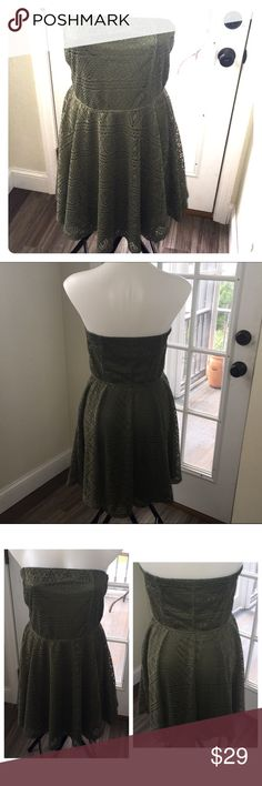 EXPRESS Olive Green Crochet Strapless Dress Work once like new condition! Skater skirted strapless olive green fully lined dress by Express Size L can fit XL. Express Dresses Strapless