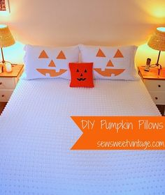 how to make a jack-o-lantern, pumpkin, pillow case and pillow cover, with chenille and a dish towel