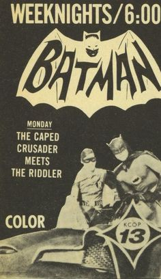 Batman on KCOP TV. I used to watch Batman reruns on this channel in LA. Batman 1966, Im Batman, Batman Comics, Batman Robin, Superman, Batman Stuff, Batman Tv Show, Batman Tv Series, Dc Comic Books