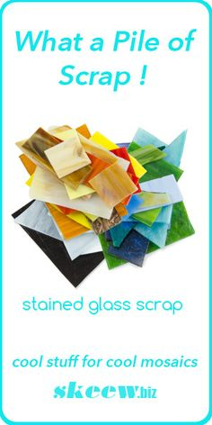 """Our scrap stained glass includes just about every kind of stained glass you can think of; opalescent, cathedral, confetti, Van Gogh, and Bullseye are a good start. Every pound is a mix of sizes, shapes and colors, and their dimensions range from 3/4"""" to 5"""". They are sorted in cool, warm, and neutral mixes. Buy them by the pound."""