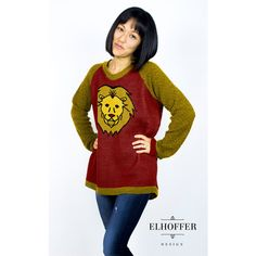 Elhoffer Designs Harry Potter Lion Face Raglan Hi-Low Knit Sweater ($60) ❤ liked on Polyvore featuring tops, sweaters, knit raglan sweater, knit sweater, raglan sweater, raglan sleeve top and lion sweater