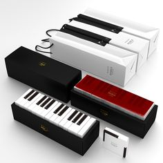 Gift boxes usually just line up products neatly, one after the other, in a  uniform fashion. But the boxes for MARAIS, designed by Latona Marketing  Inc., are unique and can create different patterns together. By focusing on  only one design but making use of all six surfaces, they made it possible  to recreate keyboards and pianos.