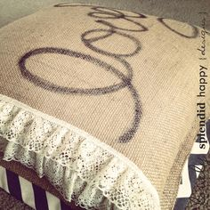 {home decor} Lovely: burlap, lace and chevron pillow