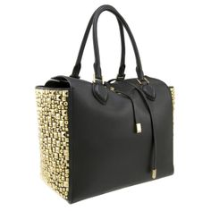THE ROYAL TREATMENT | MICHAEL KORS - Black natural grained deer leather tote with studded sides, gold-tone hardware, embossed logo and functional tie closure.  Interior lined in suede with one zip and two open pockets.