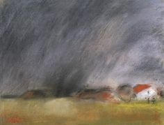 Houses, Clouds, Late Summer   -   Jozsef Rippi Ronai  Hungarian 1861-1927  Pastel on paper , 35 x 46cm.