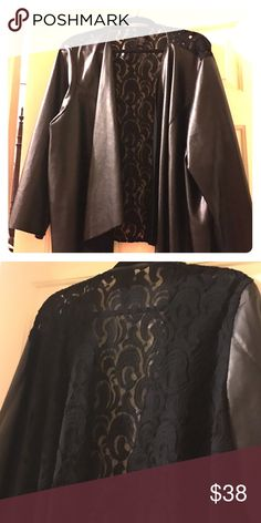 Black Leather look Blazer size 26/28 Lace Back 3x (26/28) Black leather look blazer with Lace back. Machine washable Catherines Other