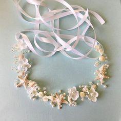Beaded Sea Shell Bridal Crown-Beach Wedding by HairDoodleDo