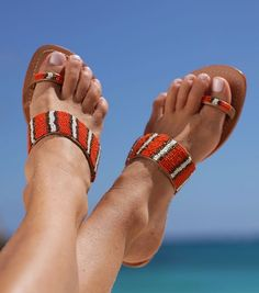 Travel in Style with Aspiga's Handmade leather sandals and luxury beachwear. Orange Sandals, Beaded Sandals, Older Women Fashion, Orange Leather, Toe Nails, Leather Sandals, Me Too Shoes, Fashion Shoes, Women's Fashion