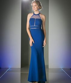 Royal Blue Illusion Halter Long Dress 2016 Prom Dresses