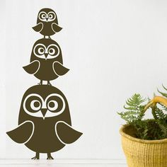 Three Owls Wall Sticker In Choice Of Color : Stencils And More at PoshTots