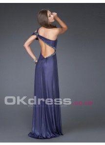 Sheath/Column One-shoulder Beading Shoulder Strap A-Line Formal Dresses