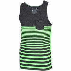 Hurley Premium Pocket Stripe Tank - Black/Neon Green