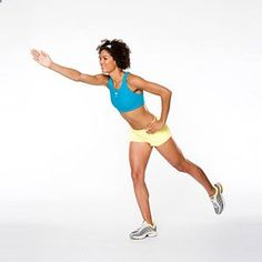 Intermediate: Single-Leg Opposite-Arm Reach. Targets: Abs, glutes, quads, and hamstrings.